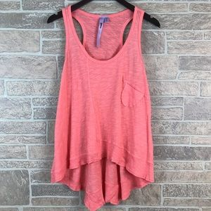 Wilt Shirttail Tank Top Coral Small 100% Cotton
